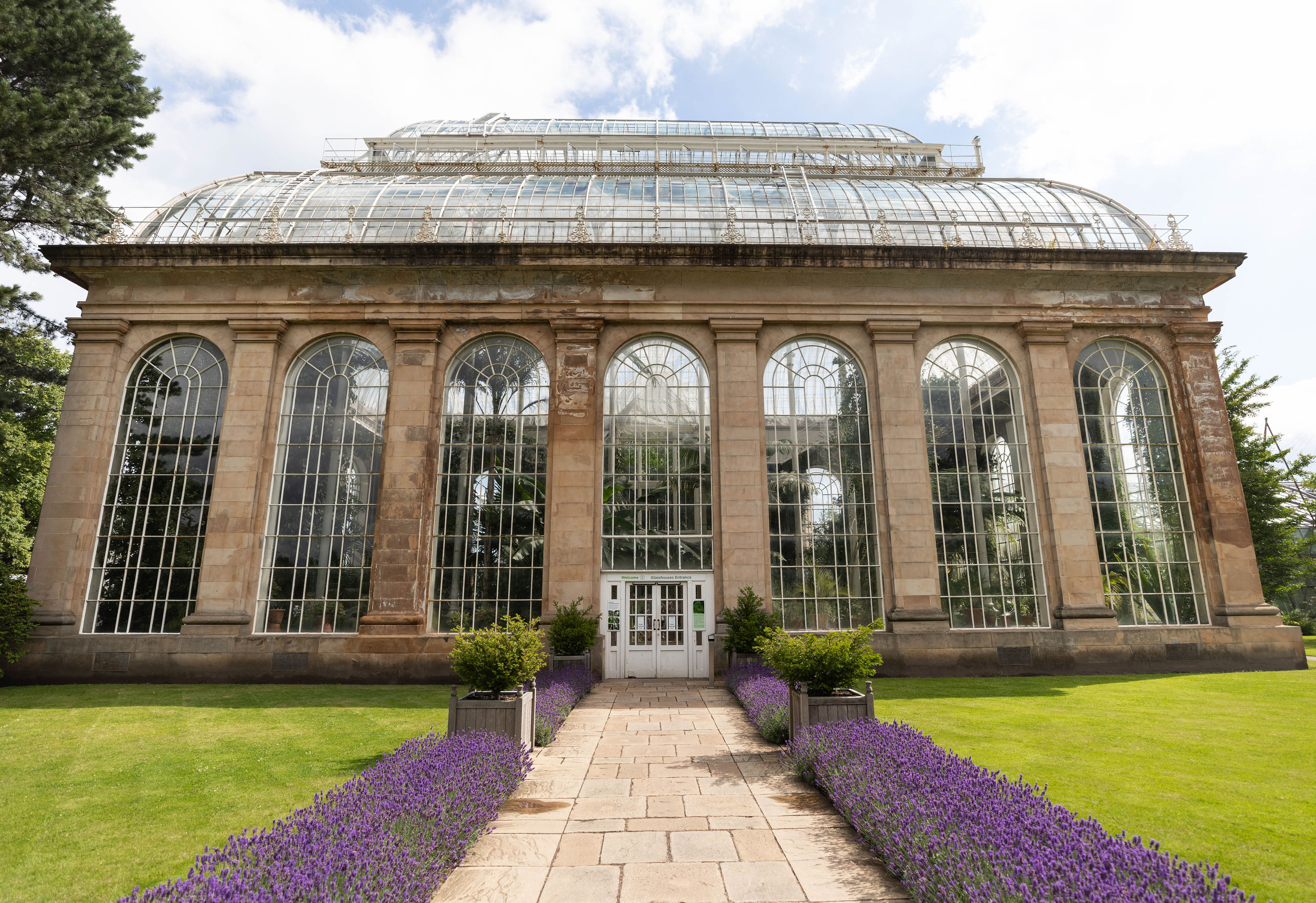 Temperate Palm House Glasshouse at Royal Botanic Gardens Edinburgh in Edinburgh, Scotland United Kingdom