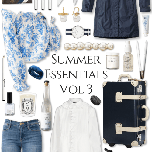 Blue Summer Essentials Vol 2 by Annie Fairfax Steamline Luggage Gucci Straw Hats Diptyque Perfume Mary Frances Handbags Velvet Top Romantic Red Outfit Cruelty Free Beauty Products