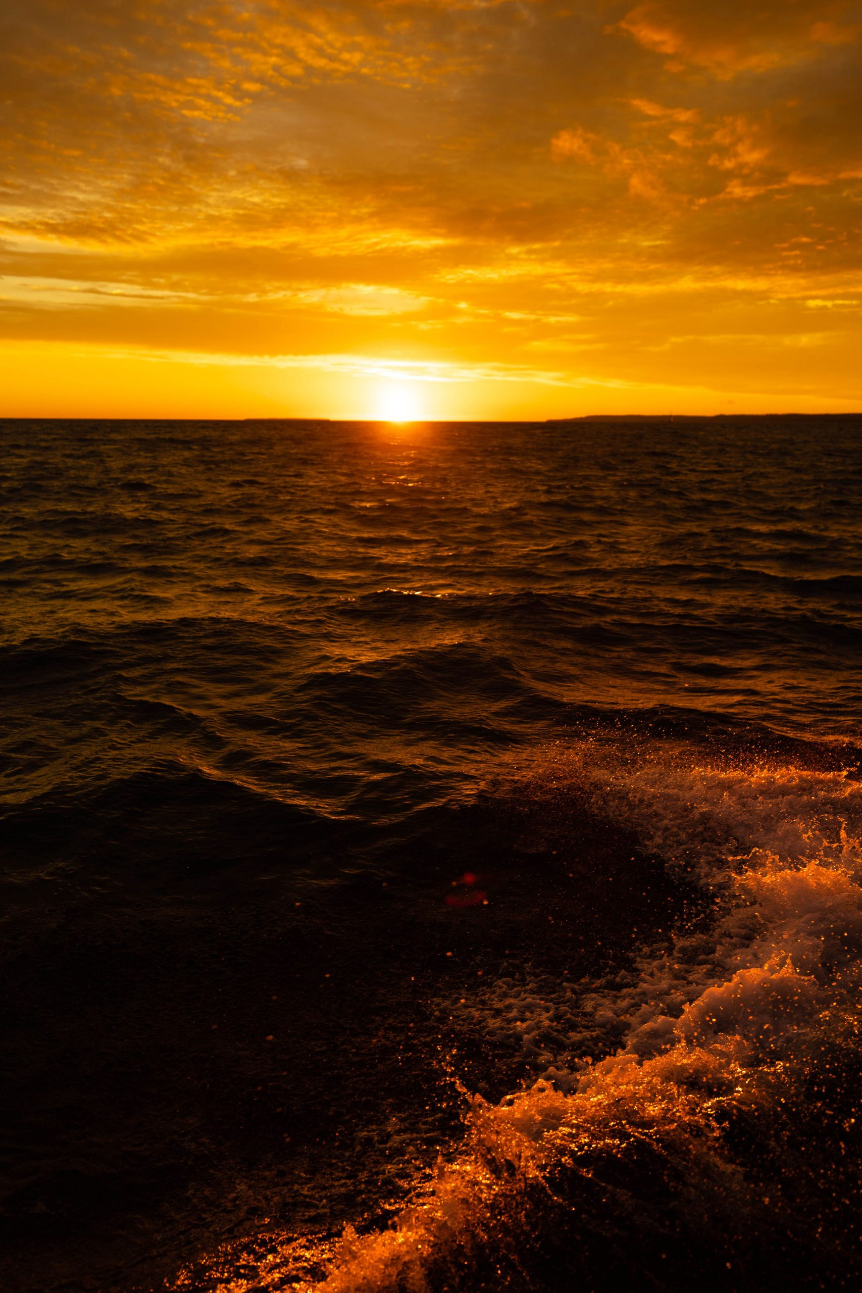 Sailing the Straits of Mackinac at Sunset Pure Michigan Up North by Annie Fairfax