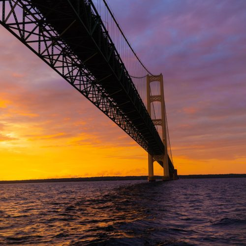 Sailing the Straits of Mackinac at Sunset