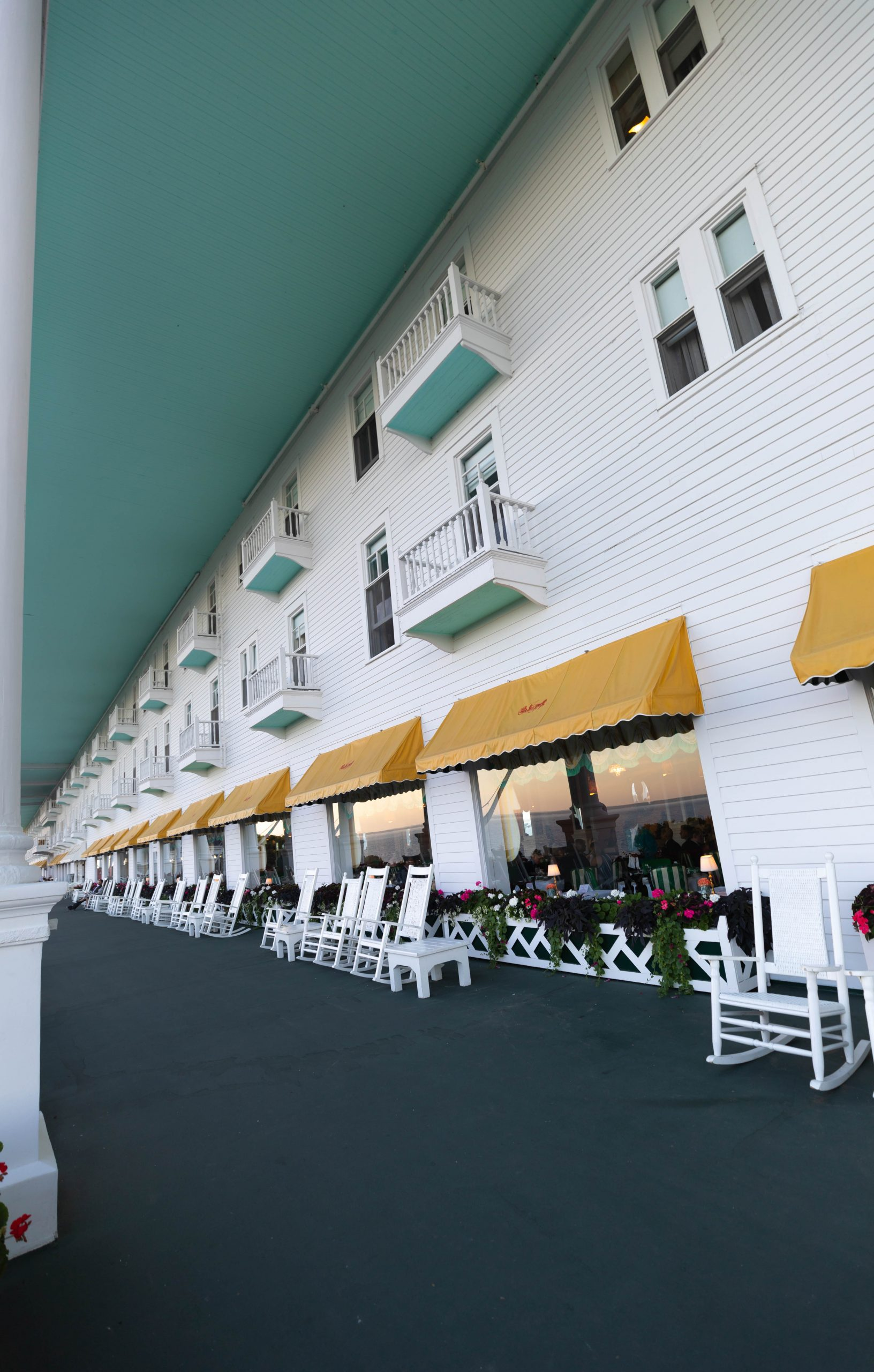 World's Longest Porch at Luxury Hotels of the World Grand Hotel on Mackinac Island in Northern Michigan Written and Photographed by Annie Fairfax
