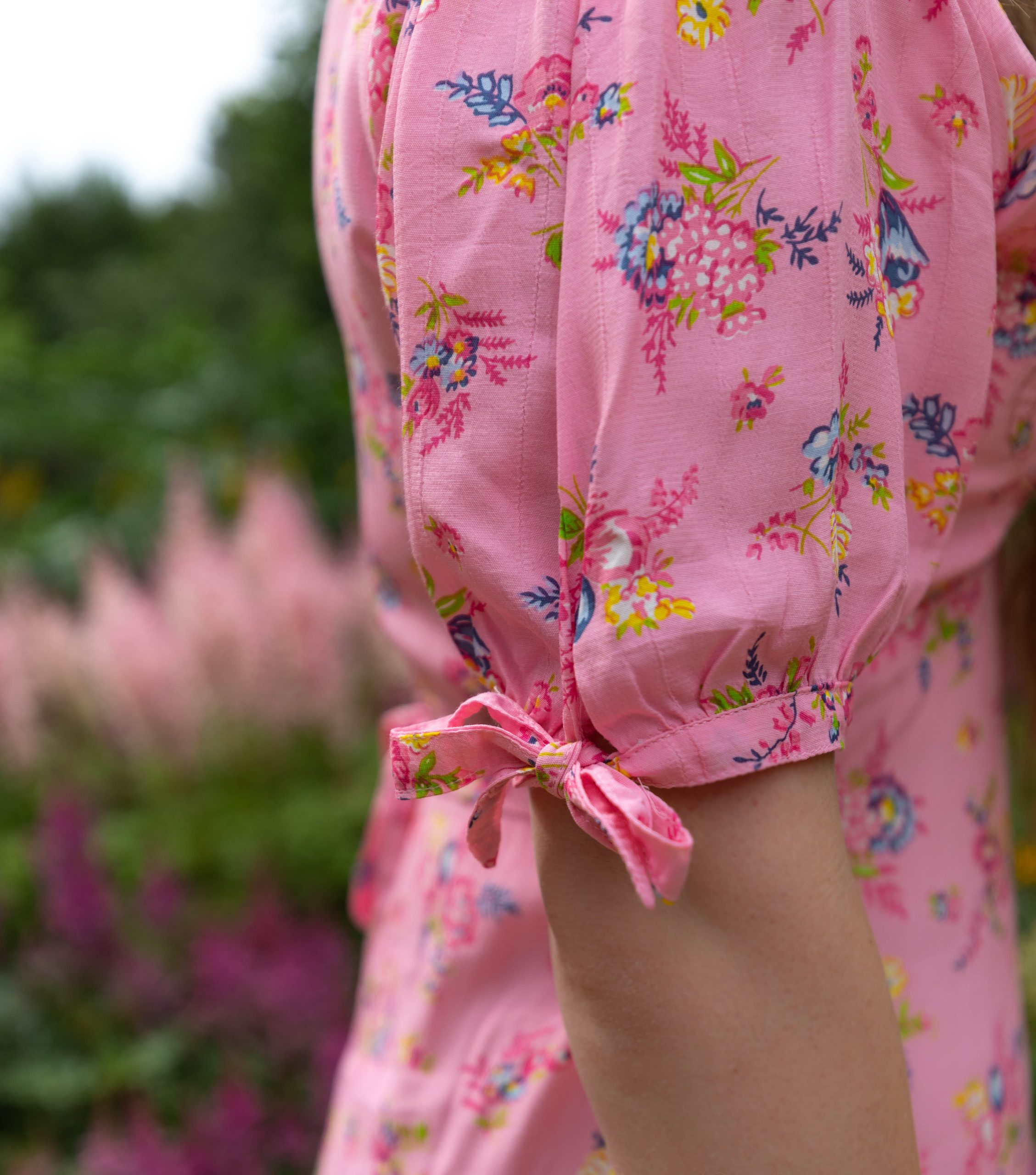 Faithful The Brand Pink Floral Daija Midi Dress Worn by Annie Fairfax