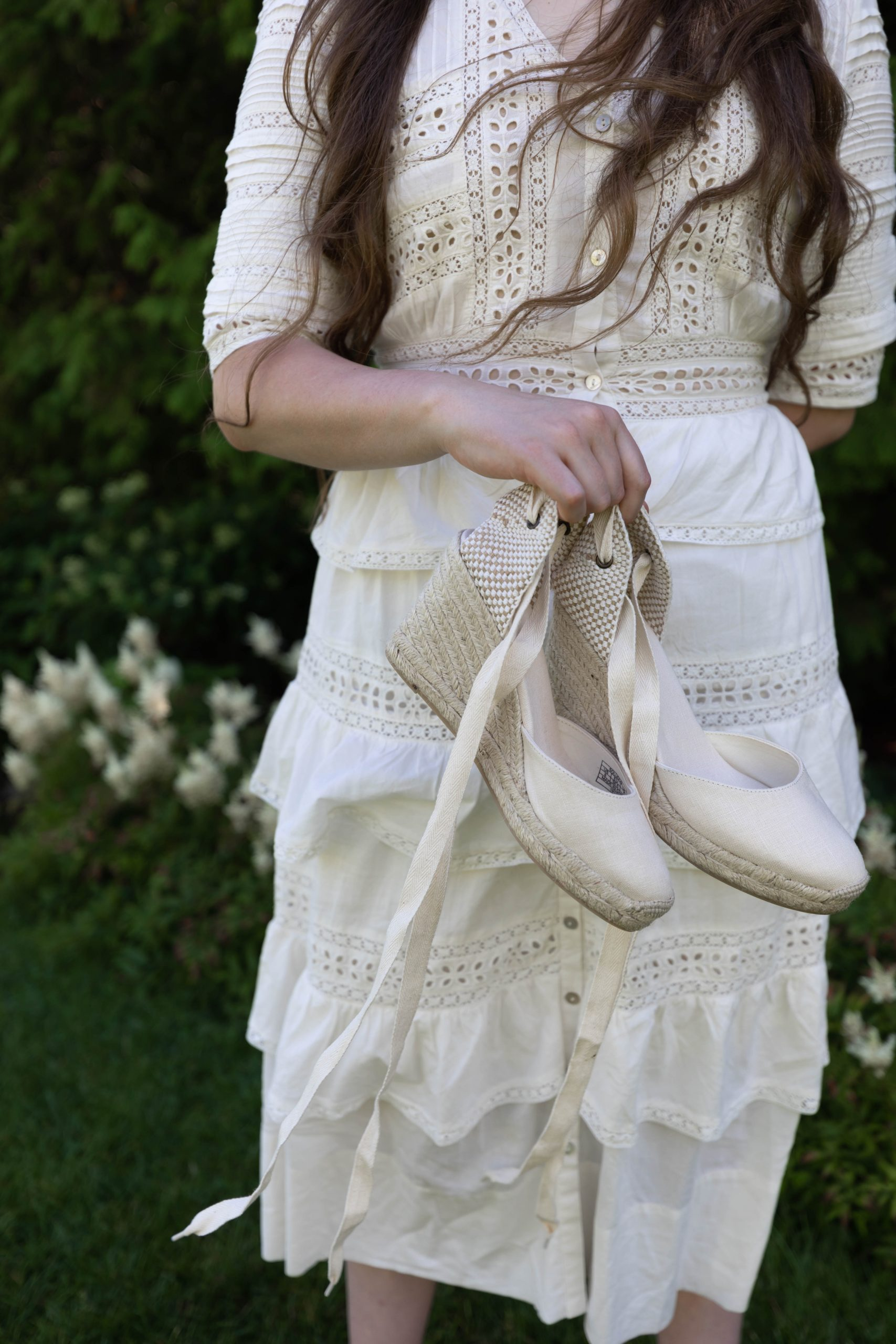 LoveShackFancy Dress Soludos Espadrilles and Brown Straw Hat