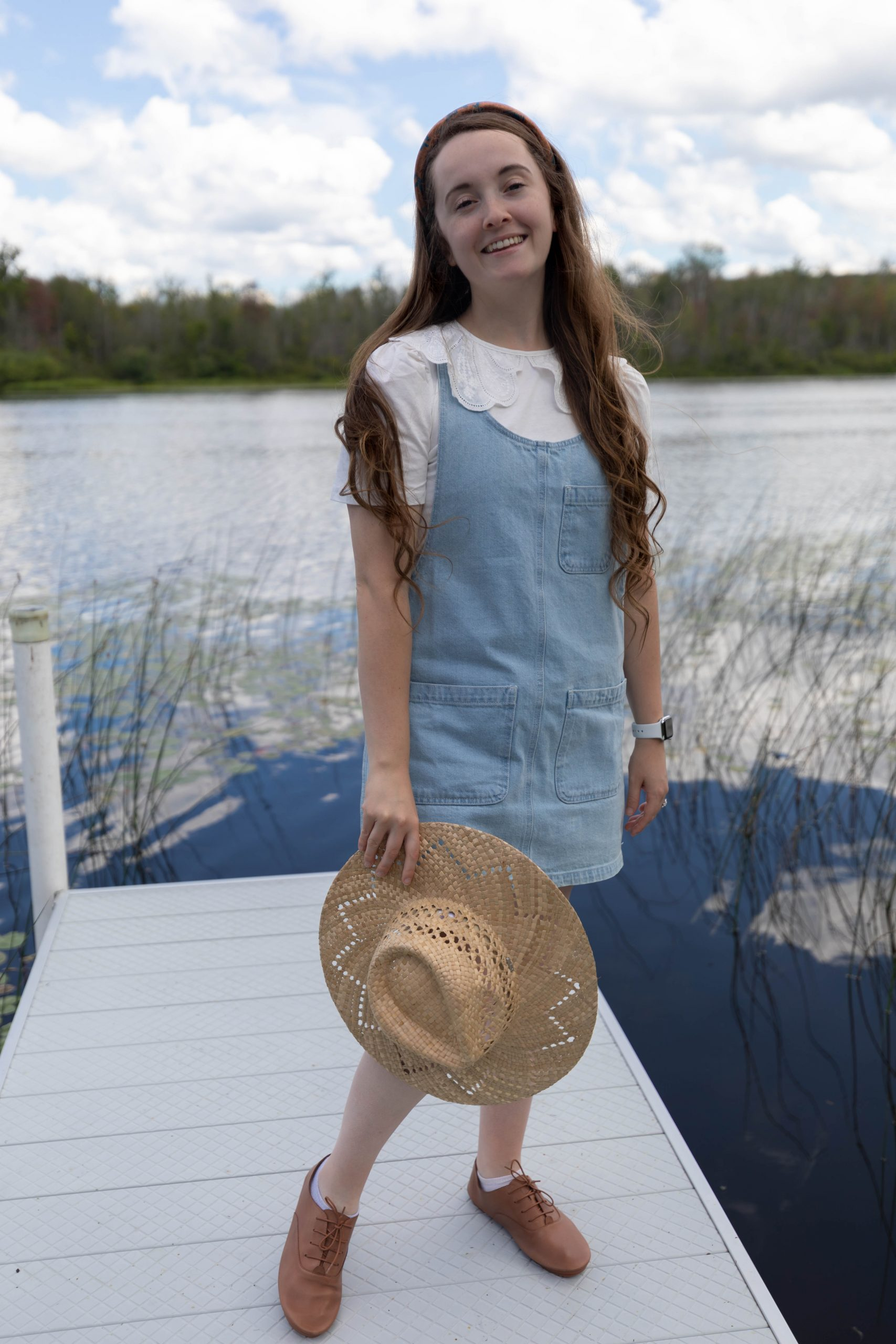 Denim Overall Dress from Reclaimed Vintage and Wide Embroidered Collar with Anothersole Shoes for Charity Casual Outfit Style by Annie Fairfax