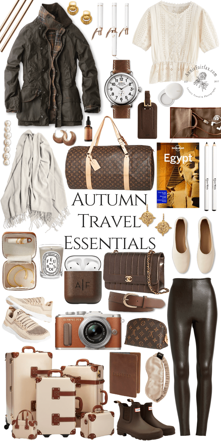 Autumn Travel Essentials Steamline Luggage Fall Barbour Jacket Hunter Boots What to Pack for Fall Travels by Annie Fairfax Feminine Travel Essentials by Annie Fairfax What to Pack Womens Packing Guide Girls Packing Tips