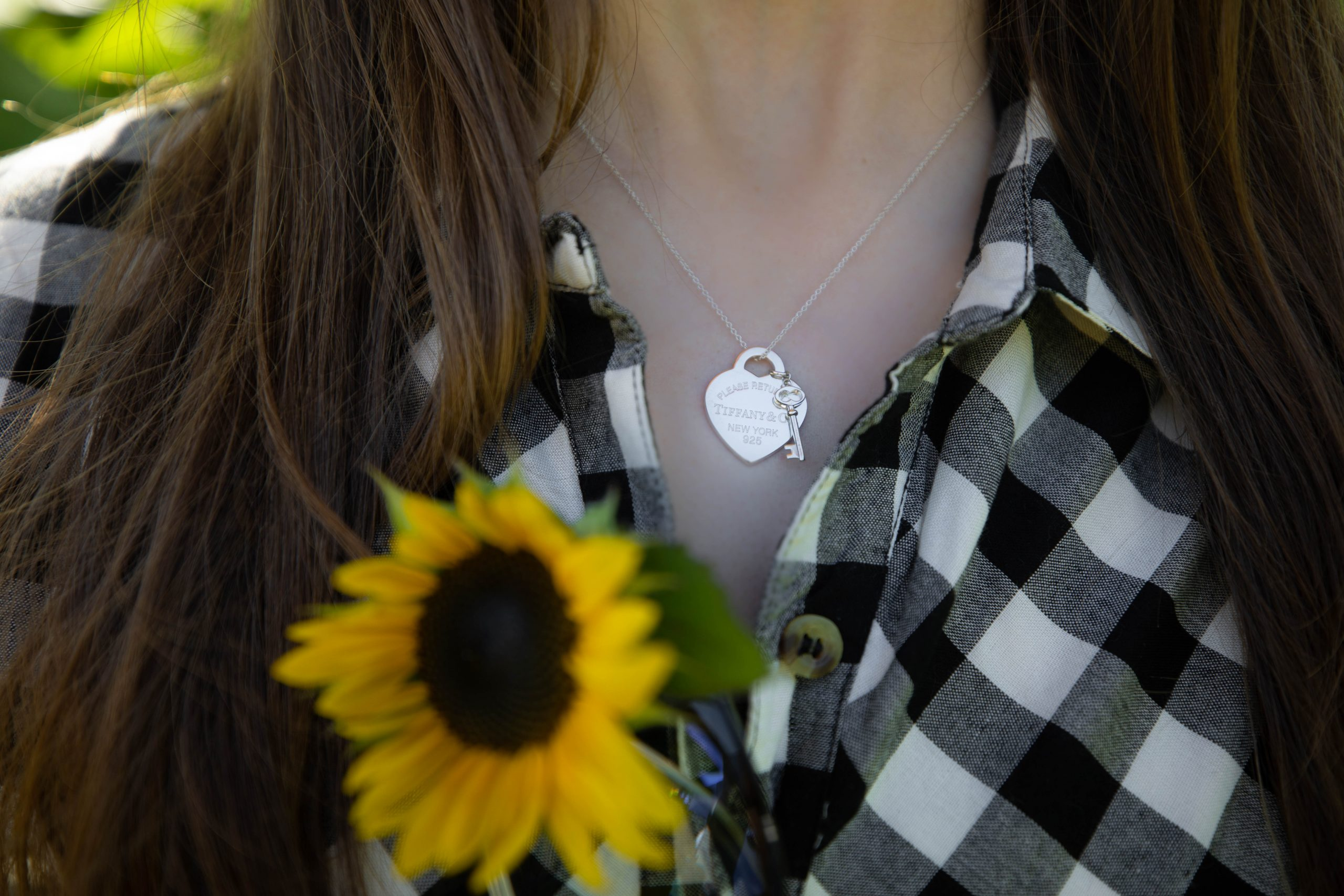 Sterling Silver Tiffany & Co Heart and Key Tag Necklace Sunflower Fields at DeBucks Sunflower U-Pick Farm in Belleville, Michigan Photographed by Annie Fairfax