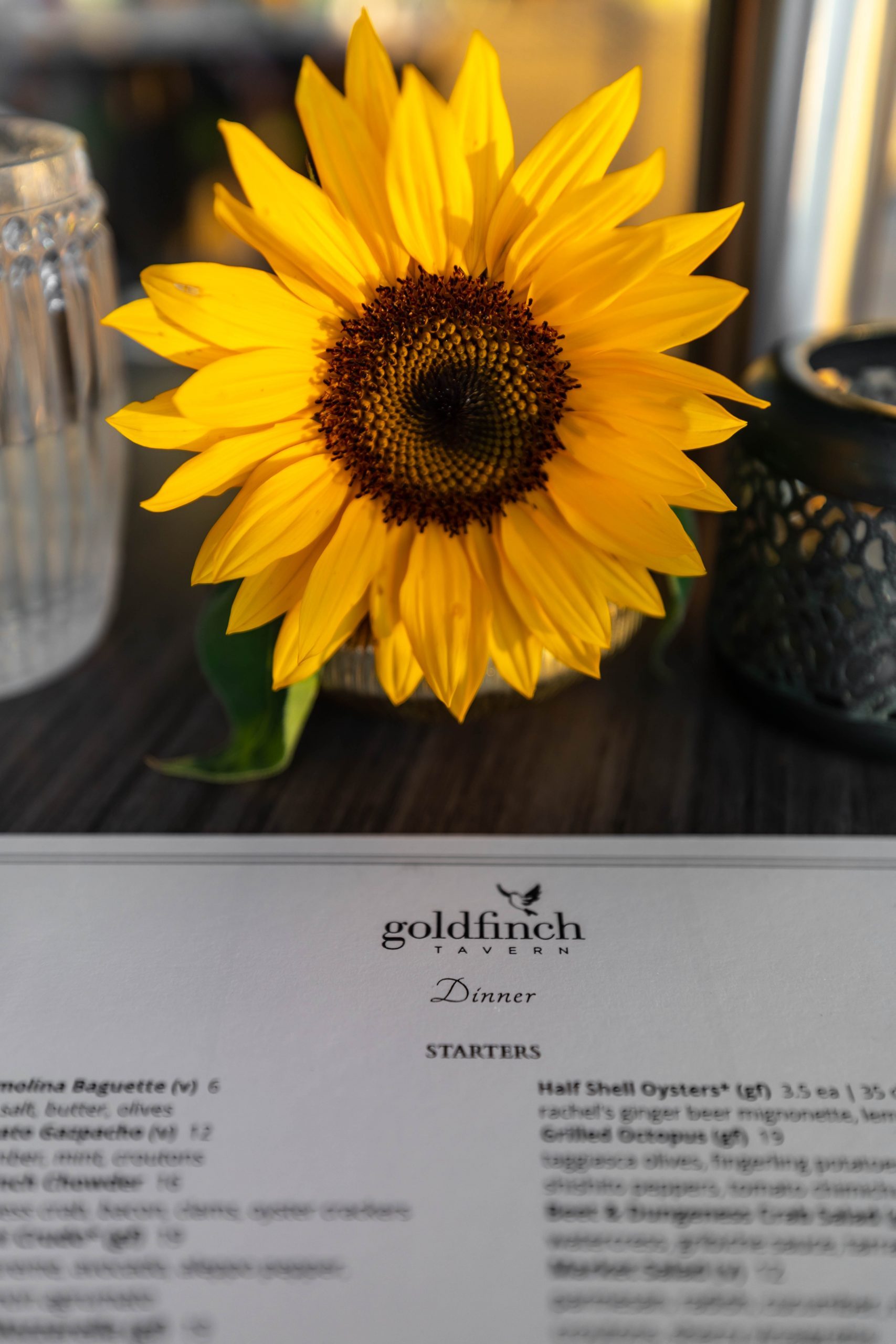 Goldfinch Tavern Rooftop Dining at Four Seasons Hotel Seattle Menu and Sunflower by Annie Fairfax