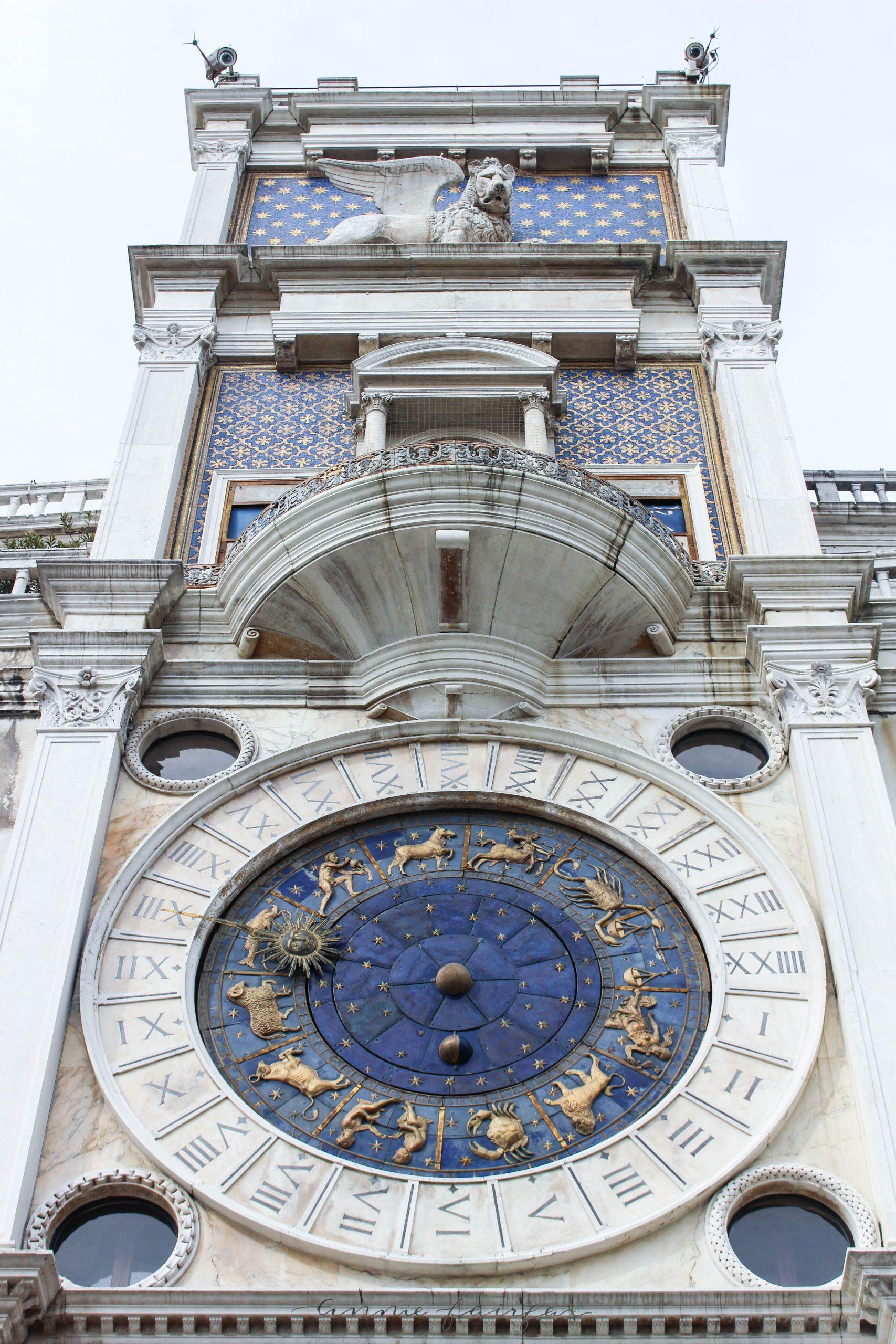 Saint Mark's Clocktower Lapis Lazuli Zodiac Clock Saint Mark's Basilica Venice Italy Catholic Church Opulent Gold San Marco Saint Mark's Basilica & Saint Mark's Square Best Things to See and Do in Venice, Italy by Annie Fairfax Luxury Travel