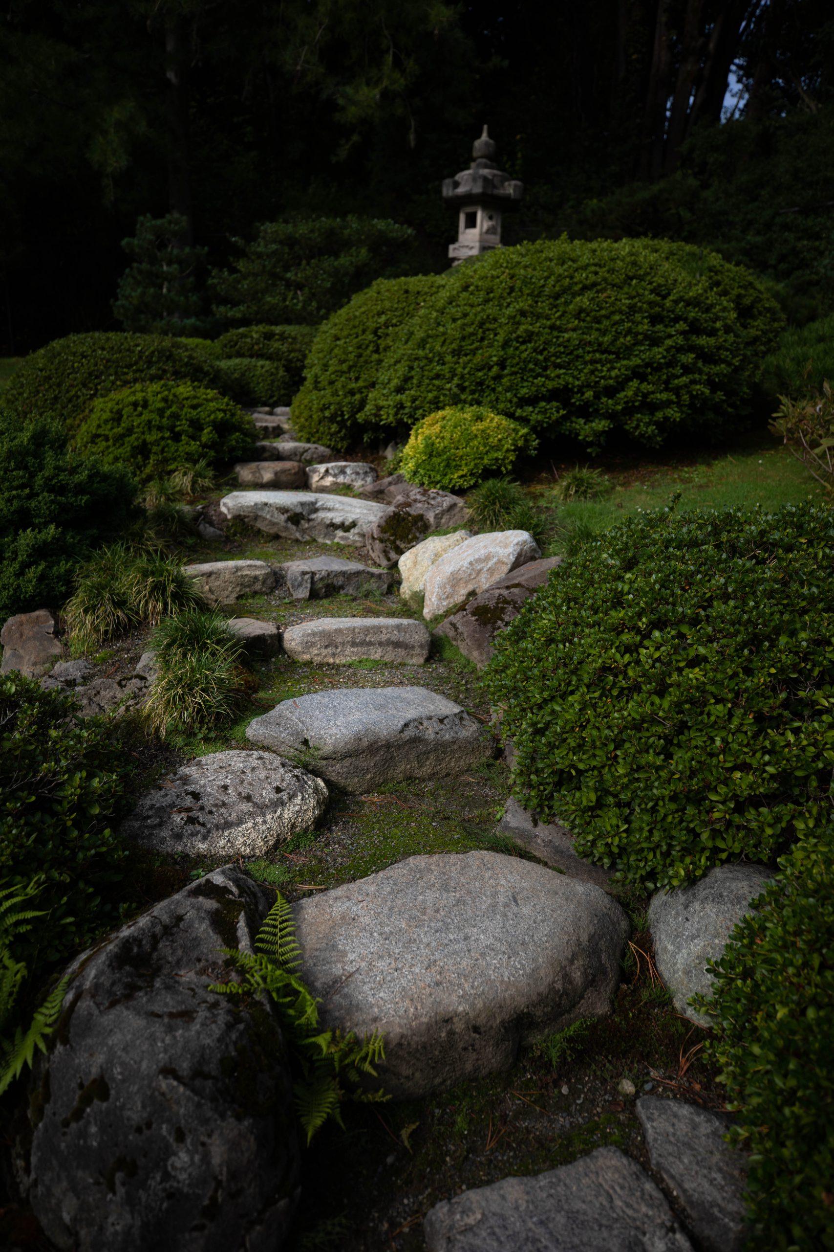 Stone Bridge at Seattle Japanese Garden in Washington Pacific Northwest by Annie Fairfax