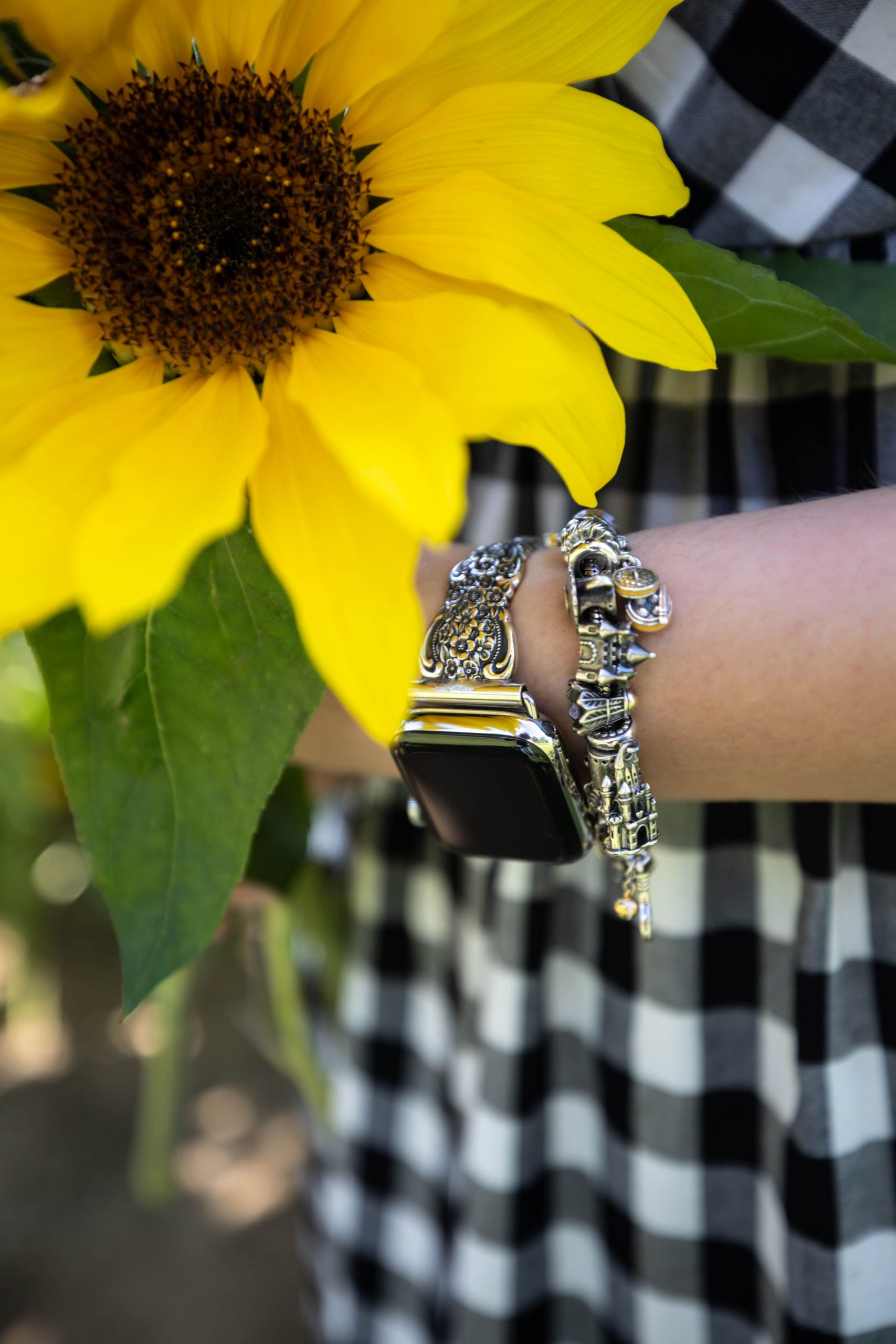 Floral & Botanicals Relief Silver Watch Band
