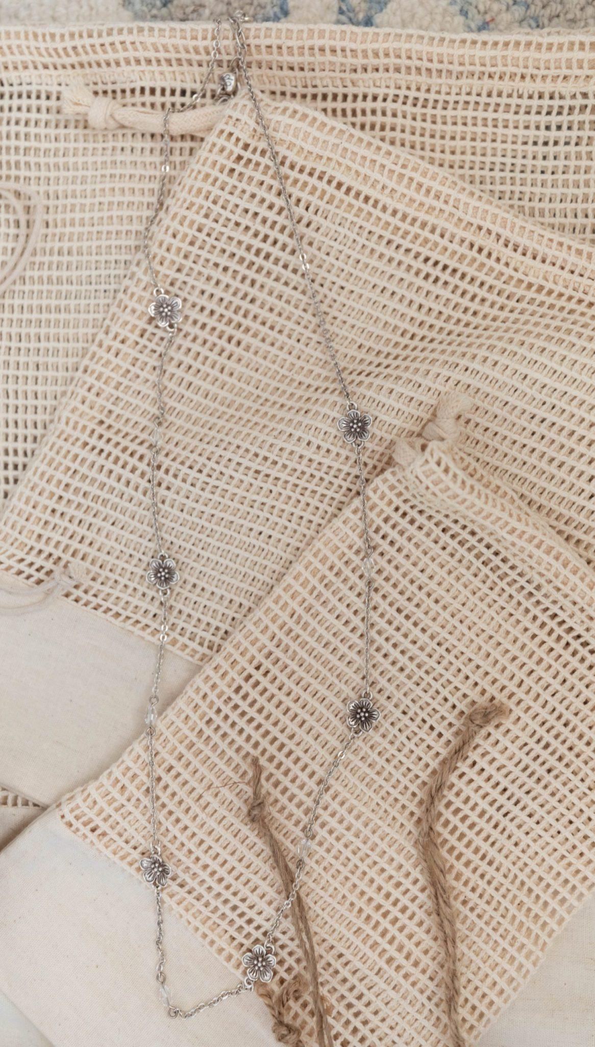 Sakura Necklace and Organic Cotton Reusable Bags Traverse City Calli's & Grand Traverse Resort Shop Finds Annie Fairfax