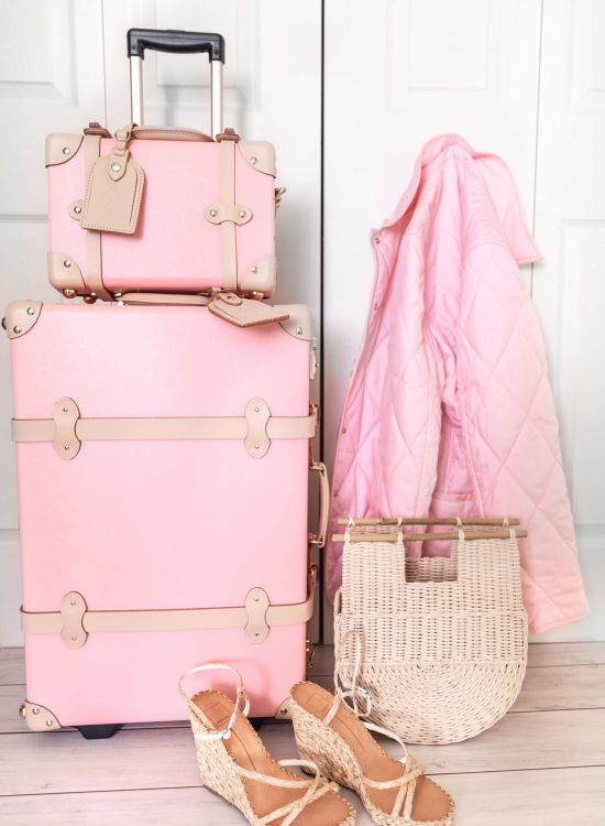 We're Packing Up Everything and Moving to Connecticut! Steamline Luggage Vintage Suitcase Dooney & Bourke Pink Quilted Jacket and Dolce Vita Woven Espadrilles by Annie Fairfax