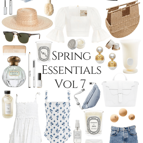 Spring Style Essentials Volume 7 Annie Fairfax curates a gentle spring time style palette for warmer weather, spring break, and vacations. Featuring an Agua by Agua Bendita top, block print pareo cover up skirt, Carrie Forbes sandals, handmade woven basket bag, Julie Vos earrings, Barbour jacket, Senreve handbags, and sustainable clean beauty Kjaer Weis makeup. Find vacation ready styles, travel bags, swimwear, block prints, woven shoes, rattan basket bags, and other spring accessories & style inspiration in this post!