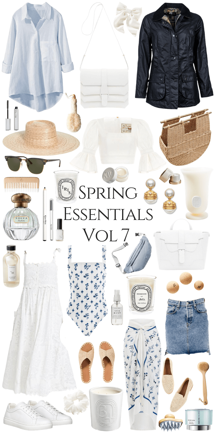 Spring Essentials Volume 7 Annie Fairfax curates a gentle spring time style palette for warmer weather, spring break, and vacations. Featuring an Agua by Agua Bendita top, block print pareo cover up skirt, Carrie Forbes sandals, handmade woven basket bag, Julie Vos earrings, Barbour jacket, Senreve handbags, and sustainable clean beauty Kjaer Weis makeup. Find vacation ready styles, travel bags, swimwear, block prints, woven shoes, rattan basket bags, and other spring accessories & style inspiration in this post!