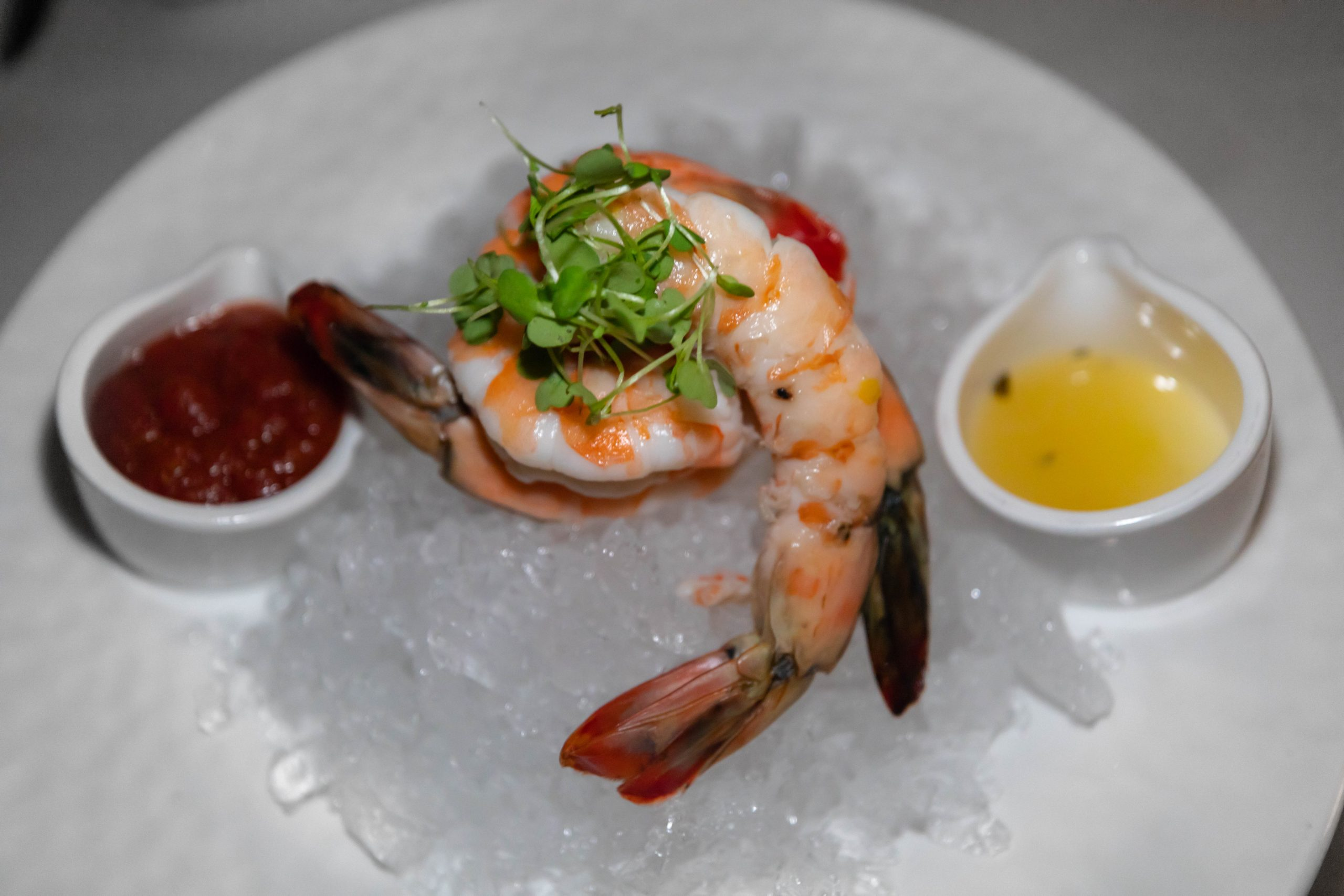 Colossal Chilled Golf Shrimp at Bull & Bear Restaurant Fine Dining Inside Waldorf Astoria Orlando Florida by Annie Fairfax Luxury Restaurants of the World