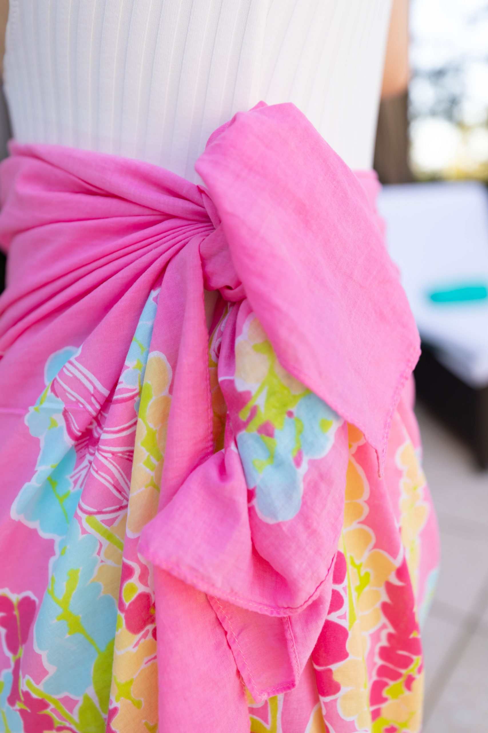 ThredUp Lilly Pulitzer Pink Dragonfly Pareo Sarong Solid & Striped Swimsuit Worn by Annie Fairfax Spring and Summer Style Inspiration