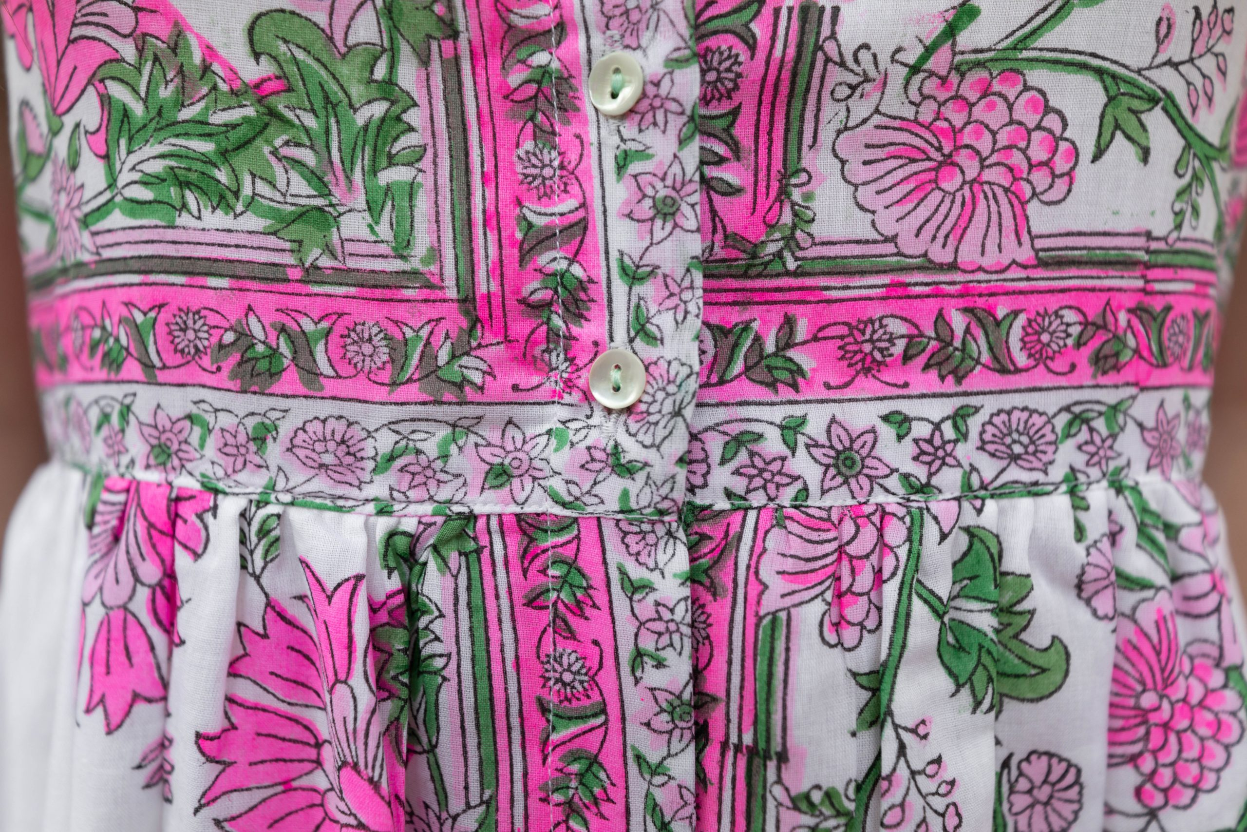 Juliet Dunn Cotton Tie-Shoulder Block Printed Button Up Summer Dress Pink and Green Floral Styled by Annie Fairfax