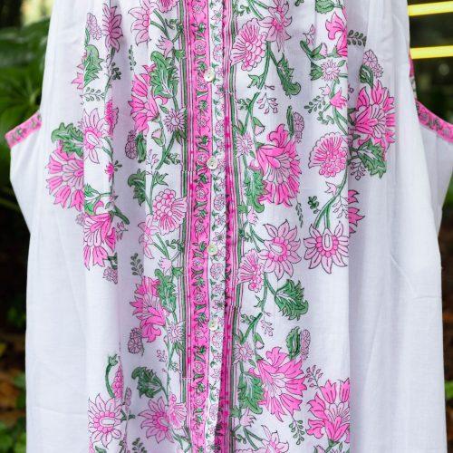 Pink & Green Florals Tie-Shoulder Dress