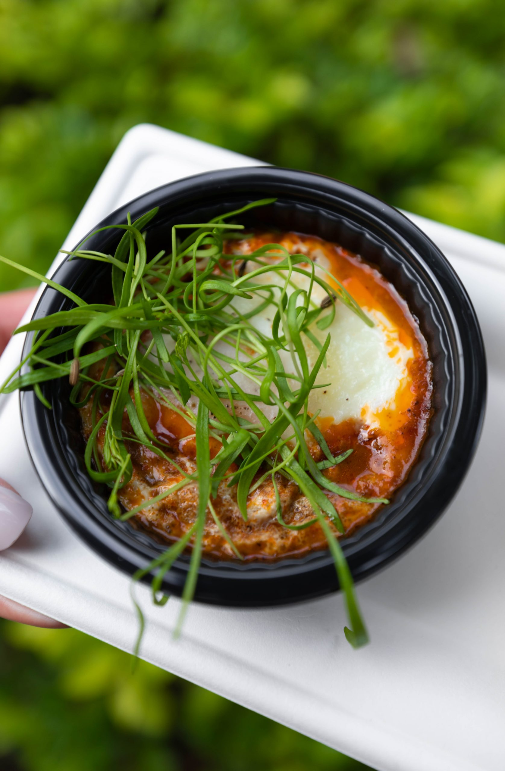 Shakshuka Moroccan Baked Eggs in a Spiced Eggplant and Tomato Stew from La Isla Fresca between Morocco and France at Epcot in Walt Disney World Orlando Florida Photographed by Annie Fairfax