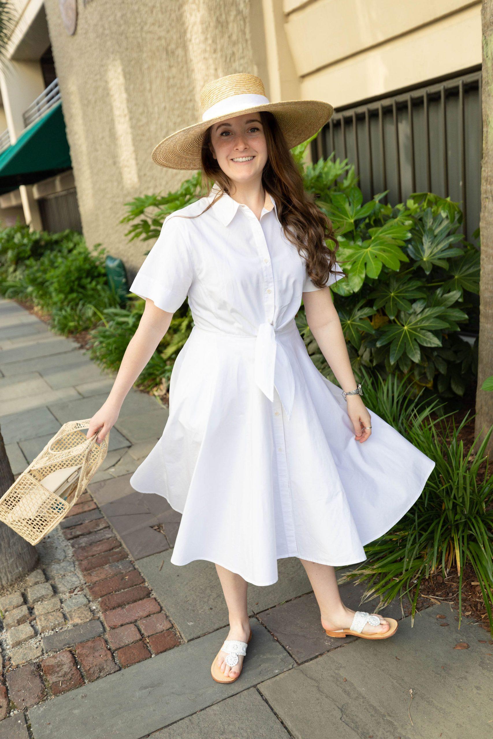 Diane von Furstenberg White Tie Waist Shirt Dress in Charleston Styled by Luxury Lifestyle Writer Annie Fairfax