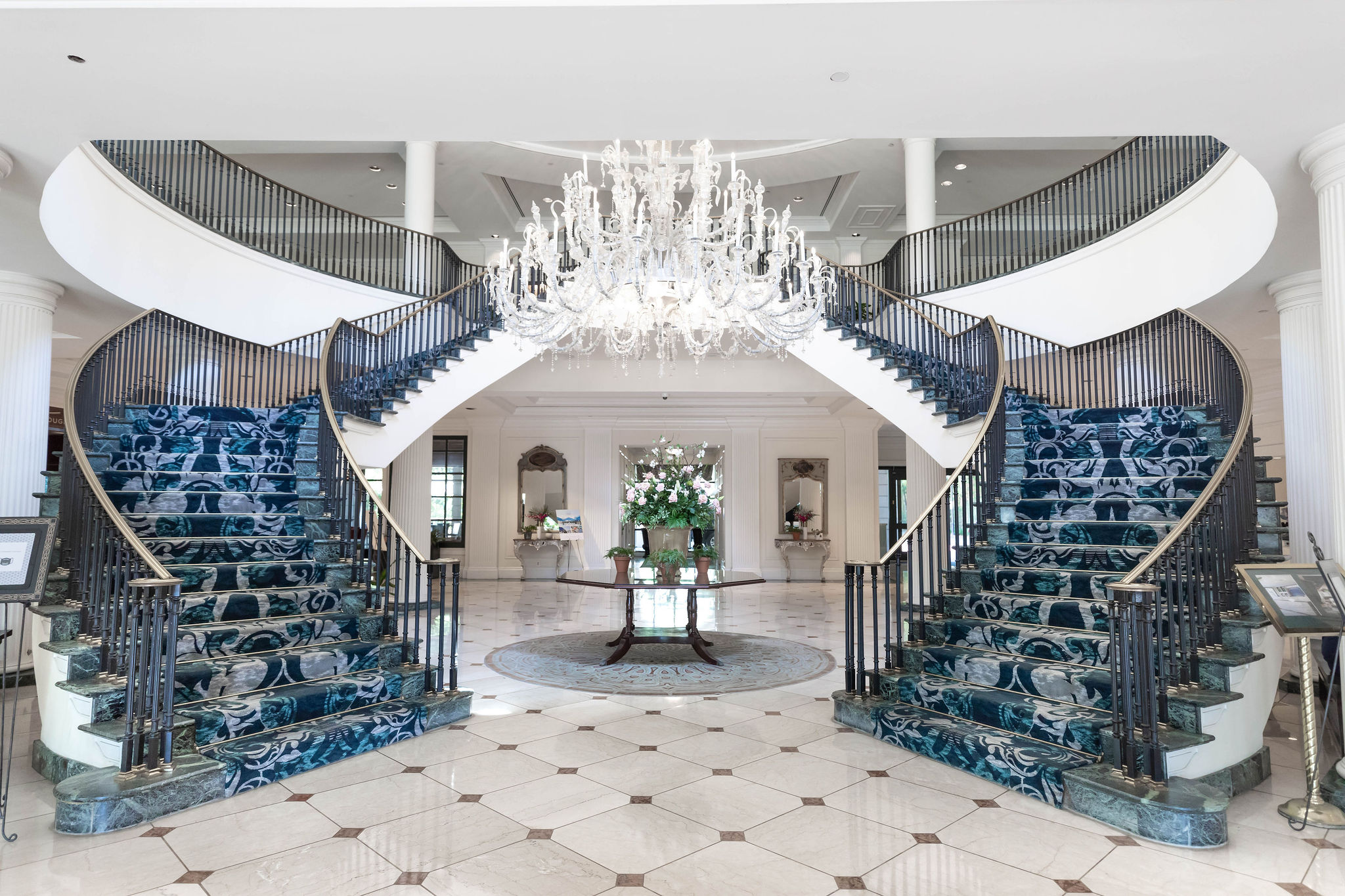 Marble Staircase at Belmond Charleston Place luxury Hotels of the World South Carolina Resorts Written & Photographed by Annie Fairfax