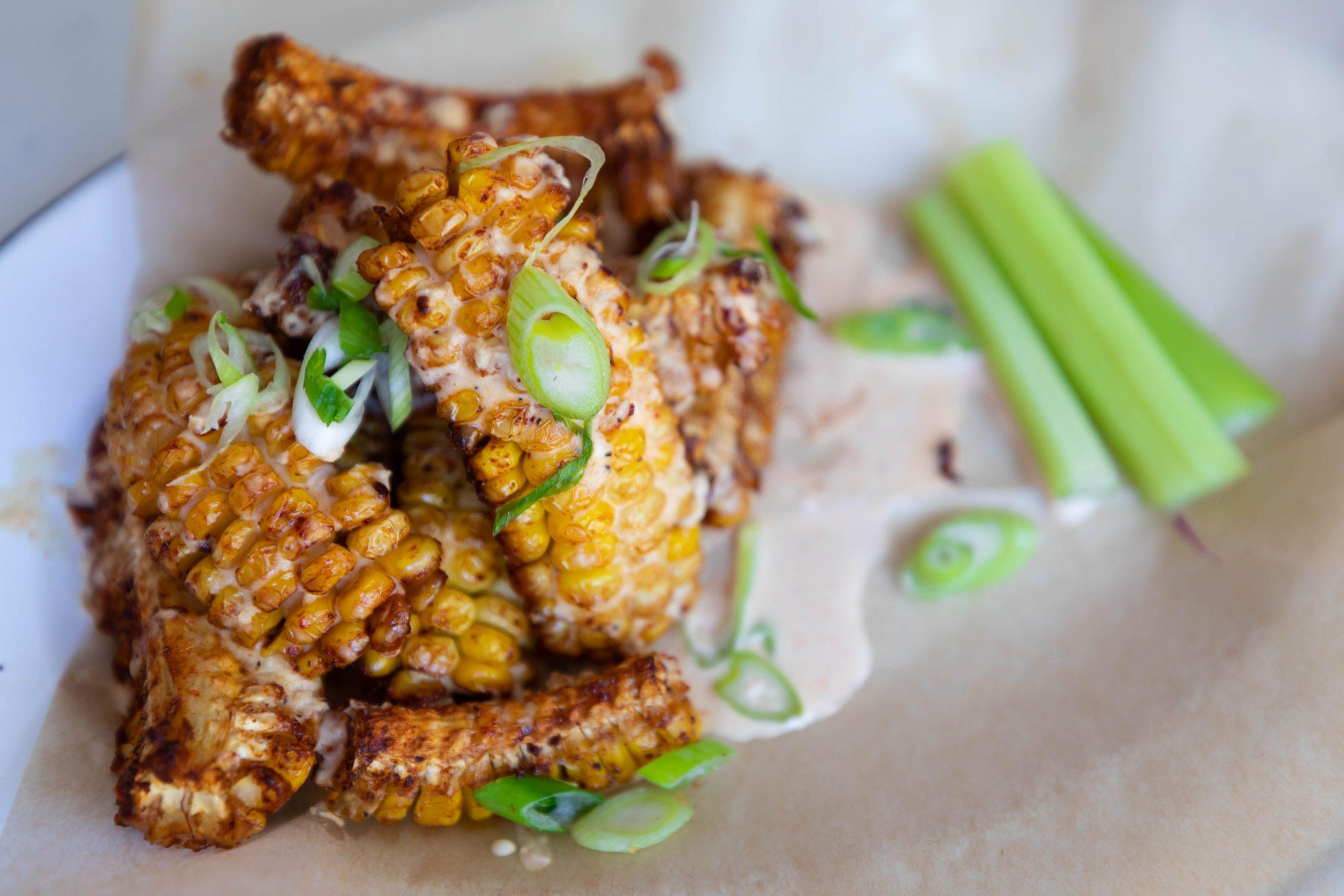 Vegan Corn Ribs at Basic Kitchen in Charleston South Carolina Plant Based Seasonal Local Cuisine Photographed by Annie Fairfax