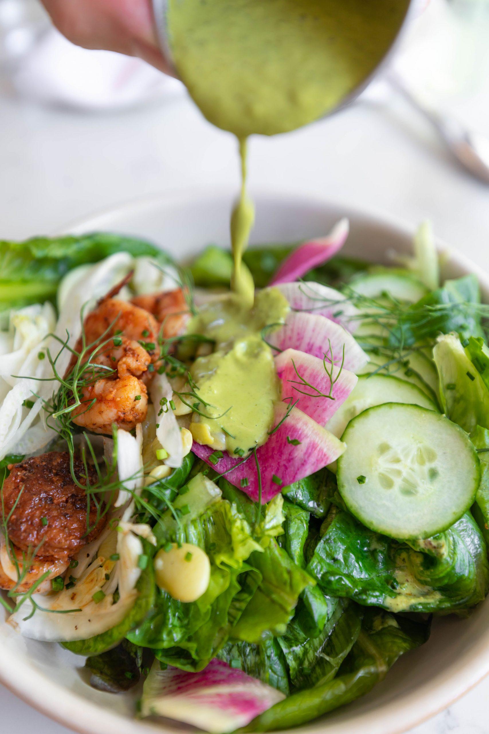 Local Shrimp & Veggie Salad from Basic Kitchen in Charleston South Carolina Plant Based Seasonal Local Cuisine Photographed by Annie Fairfax