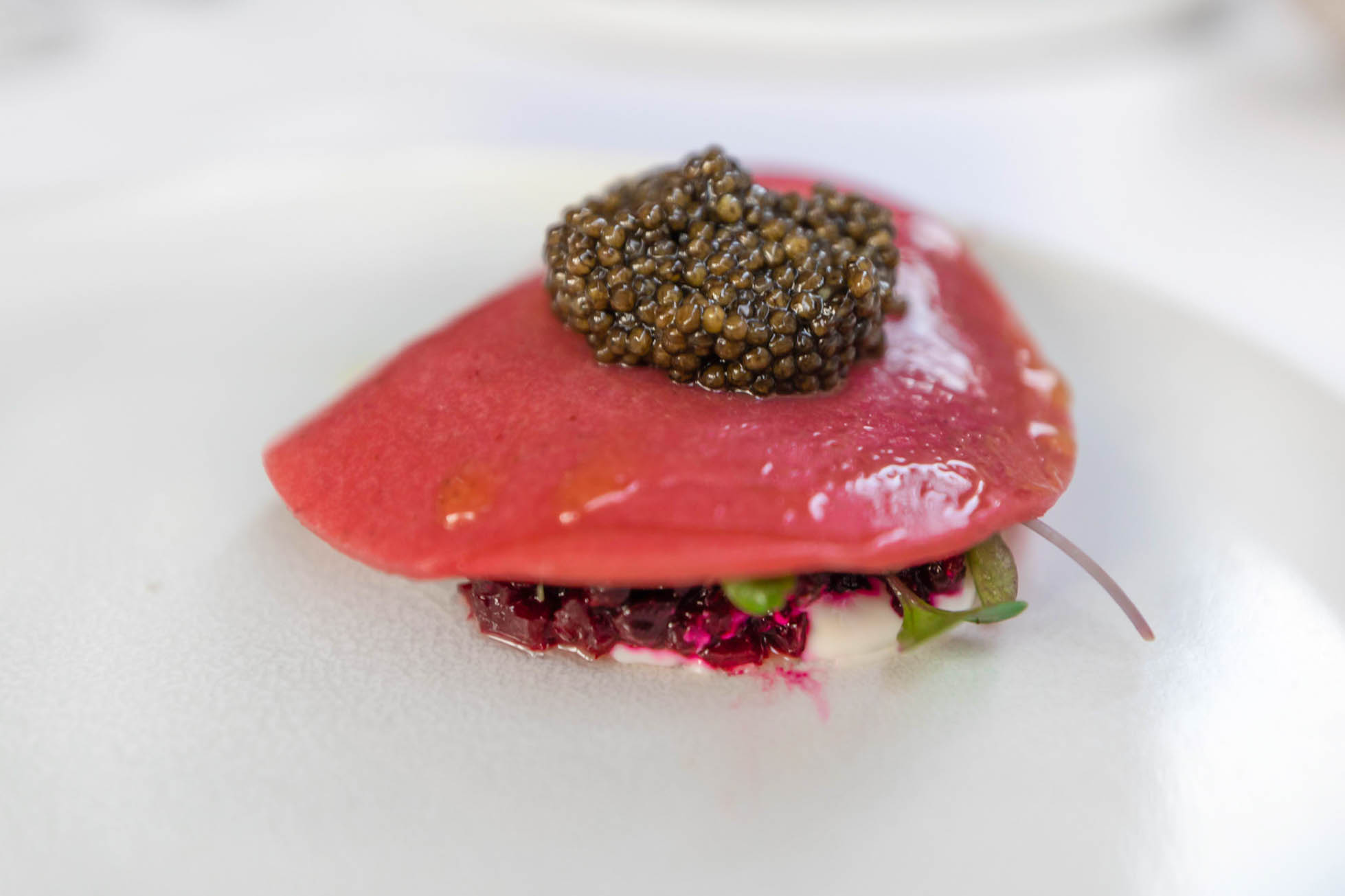 Edisto Island Beets with Strawberry, Anchovy, Feta and Regiis Ova Supreme Caviar Photographed by Luxury Travel Writer Annie Fairfax