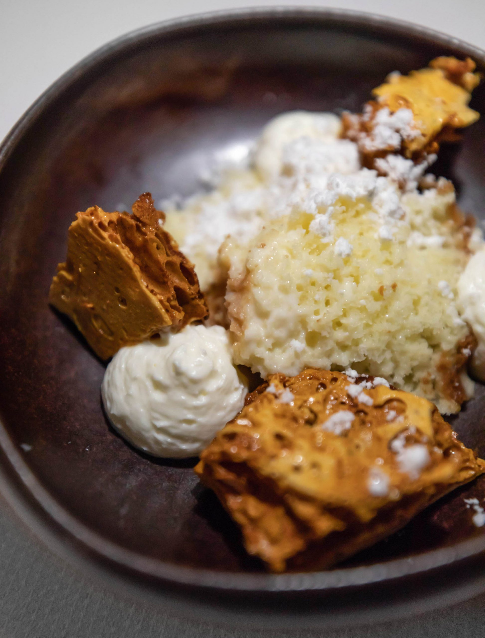 Tres Leches with Fried Honeycomb and Young Coconut Photographed by Annie Fairfax Luxury Travel Writer