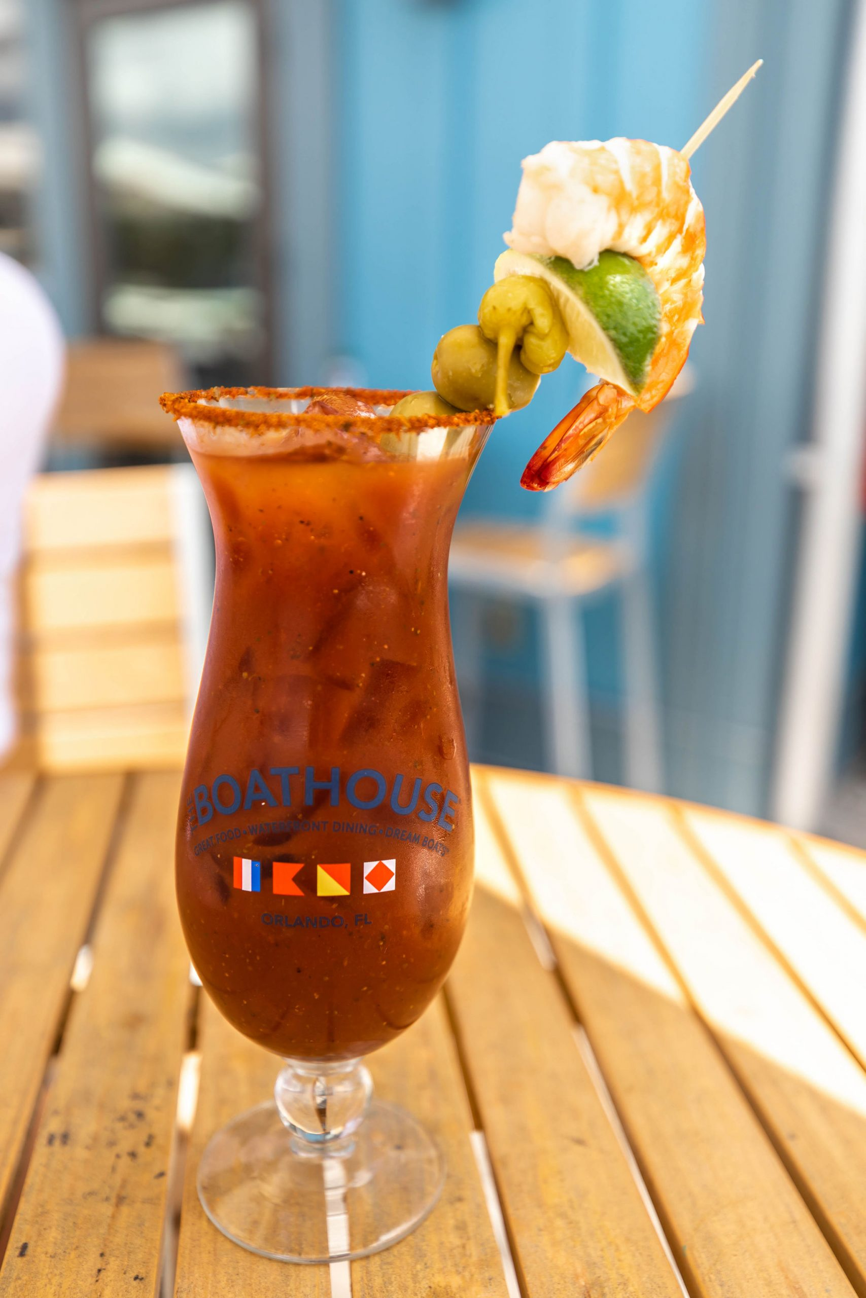Bloody Mary and Sea of Cortez Shrimp at Boathouse Restaurant at Disney Springs Orlando Florida Photographed by Annie Fairfax
