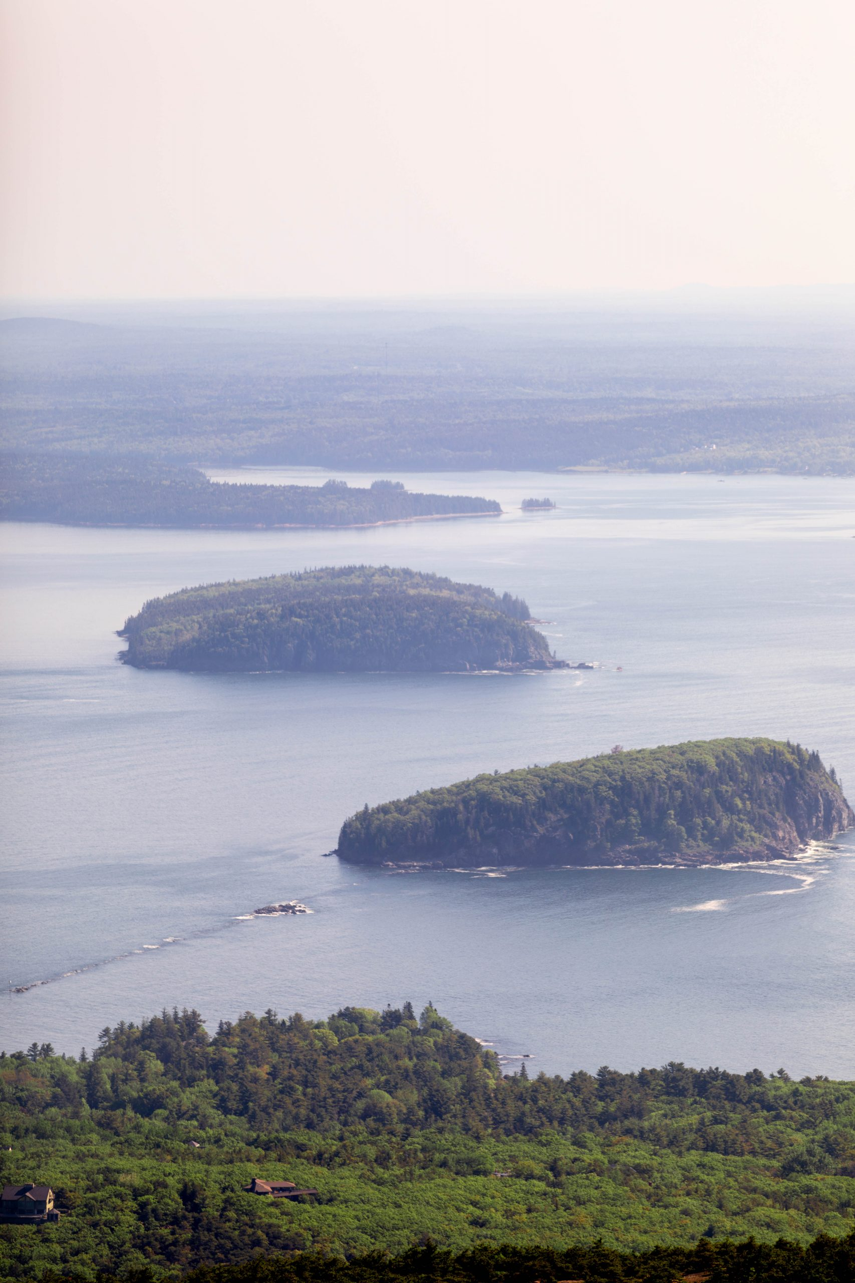 View from Cadillac Mountain Summit Acadia National Park Mount Desert Island near Bar Harbor Maine Written and Photographed by Luxury Travel Writer Annie Fairfax