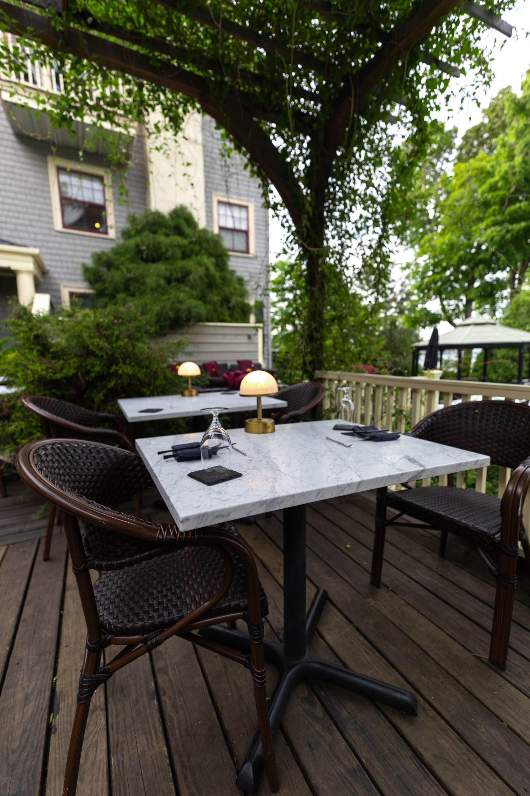 The Veranda Restaurant Inside Balance Rock Inn in Bar Harbor, Maine Photographed and Written by Luxury Travel Writer Annie Fairfax