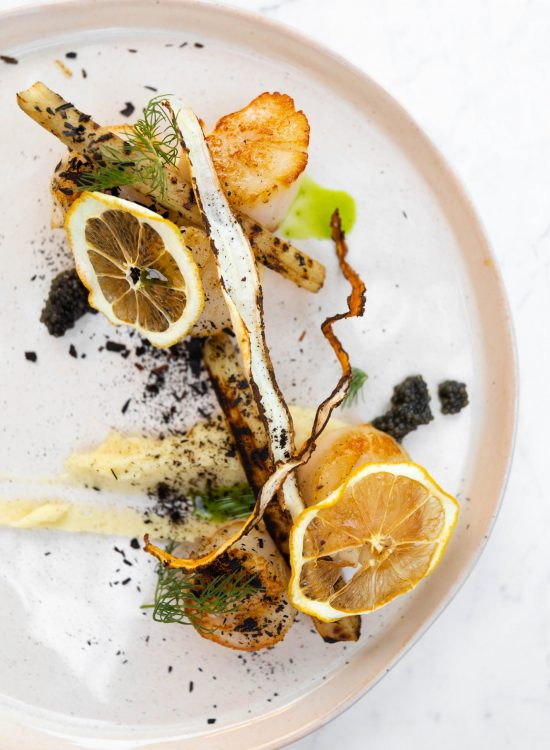 Scallops Parsnips and Salsify at The Veranda Restaurant Inside Balance Rock Inn in Bar Harbor, Maine Photographed and Written by Luxury Travel Writer Annie Fairfax