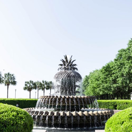 Pineapple Fountain in Charleston Luxury Travel Guide by Photographer Annie Fairfax South Carolina Vacation Ideas and Honeymoon Inspiration