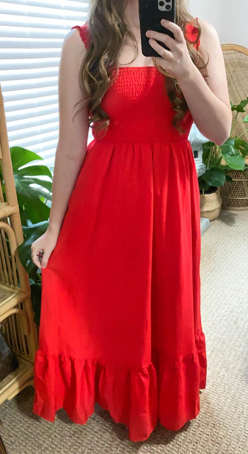 Red Ruffle Maxi from PinkBlush Women's Store Annie Fairfax