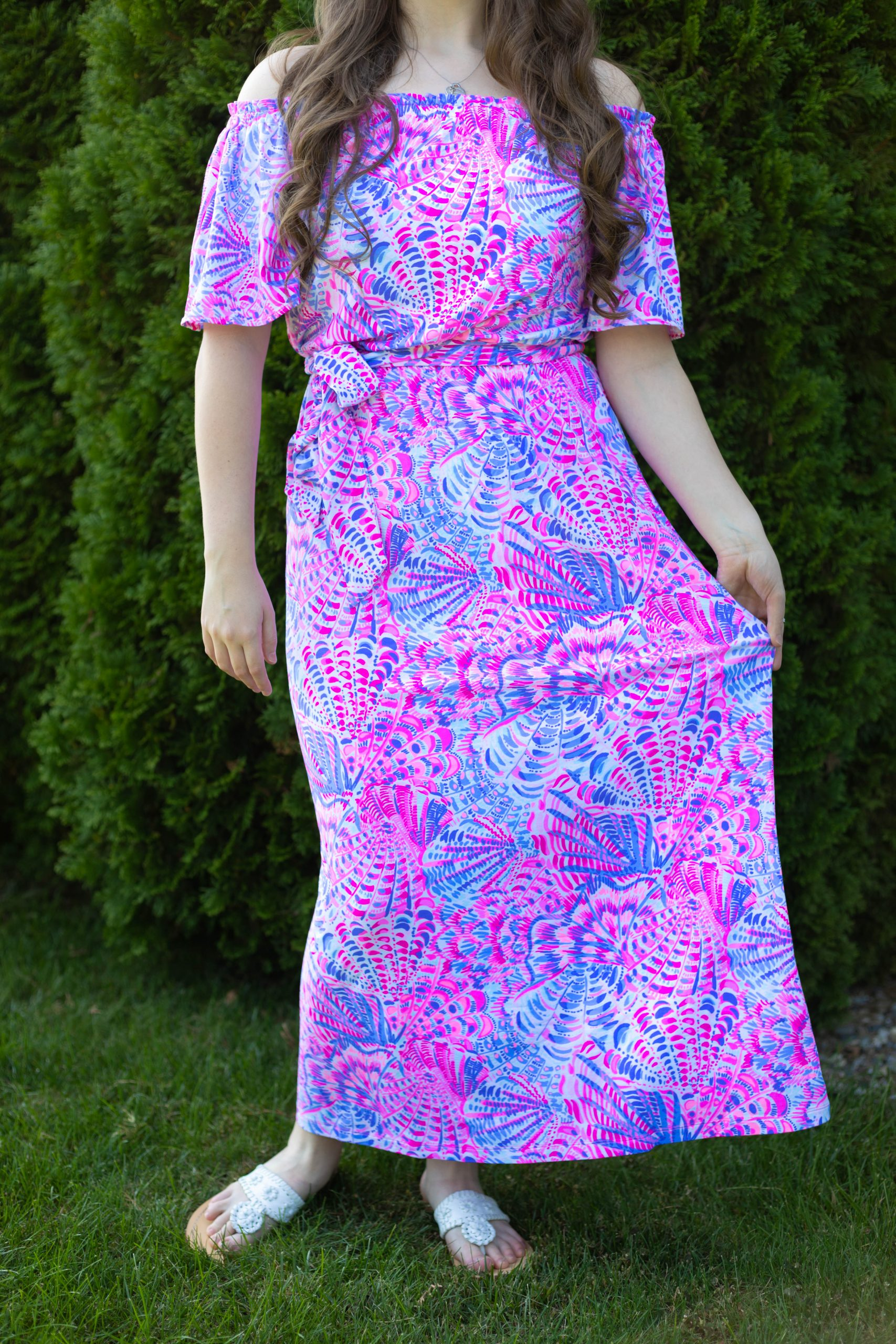 Moriah Off the Shoulder Lilly Pulitzer Dress in Raz Berry Sea You Soon Worn and Styled by Annie Fairfax