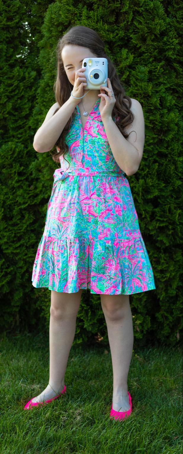 Lilly Pulitzer Trisha Shirtdress in Spotted on Worth Pop Pink Tieks