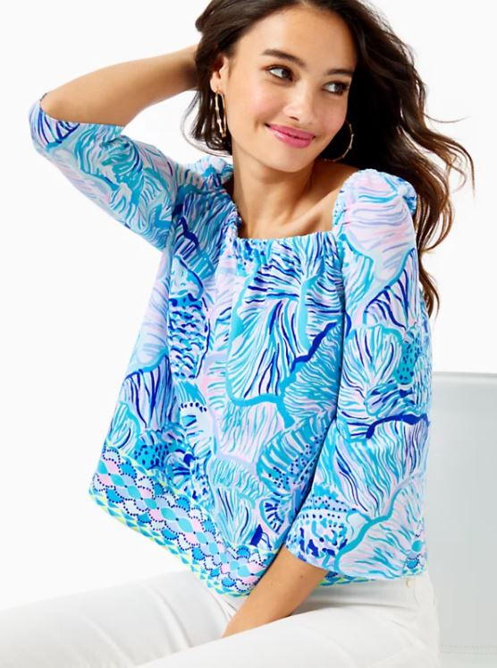 Lizzie Top Lilly Pulitzer in Fishful Thinking