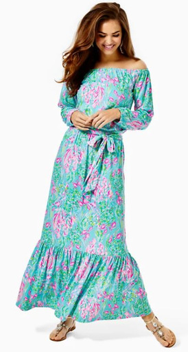 Odella Off the Shoulder Maxi Dress in Best Fishes Lilly Pulitzer