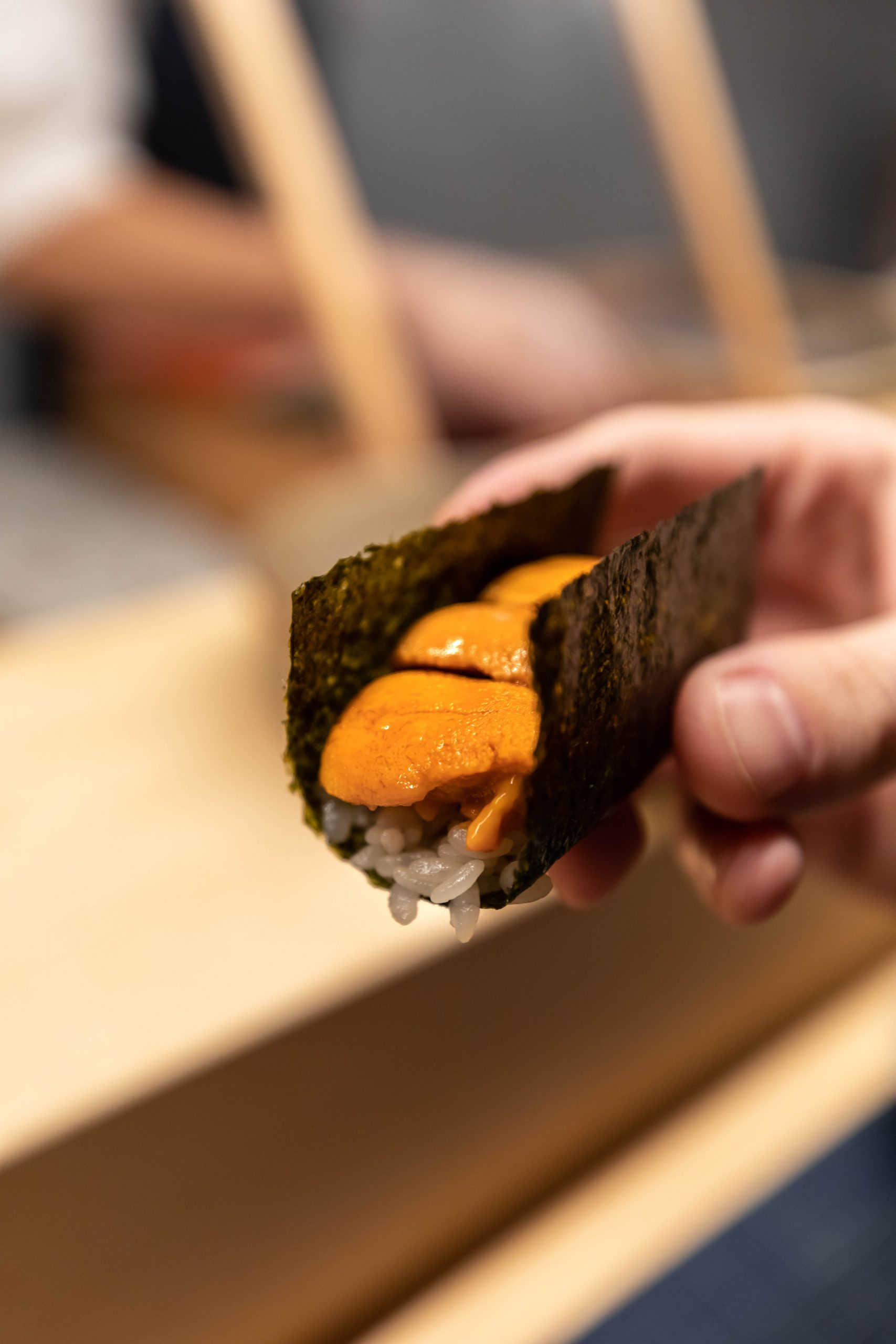 Eating Uni Omakase with the Hands Omakase Etiquette Guide Photographed by Annie Fairfax