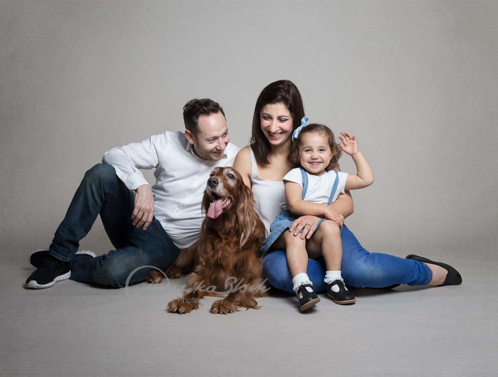 Family with dog and toddler
