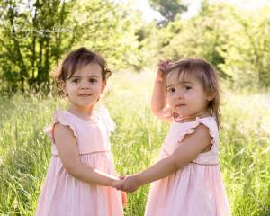 outdoor family session in West London, toddler twin girls