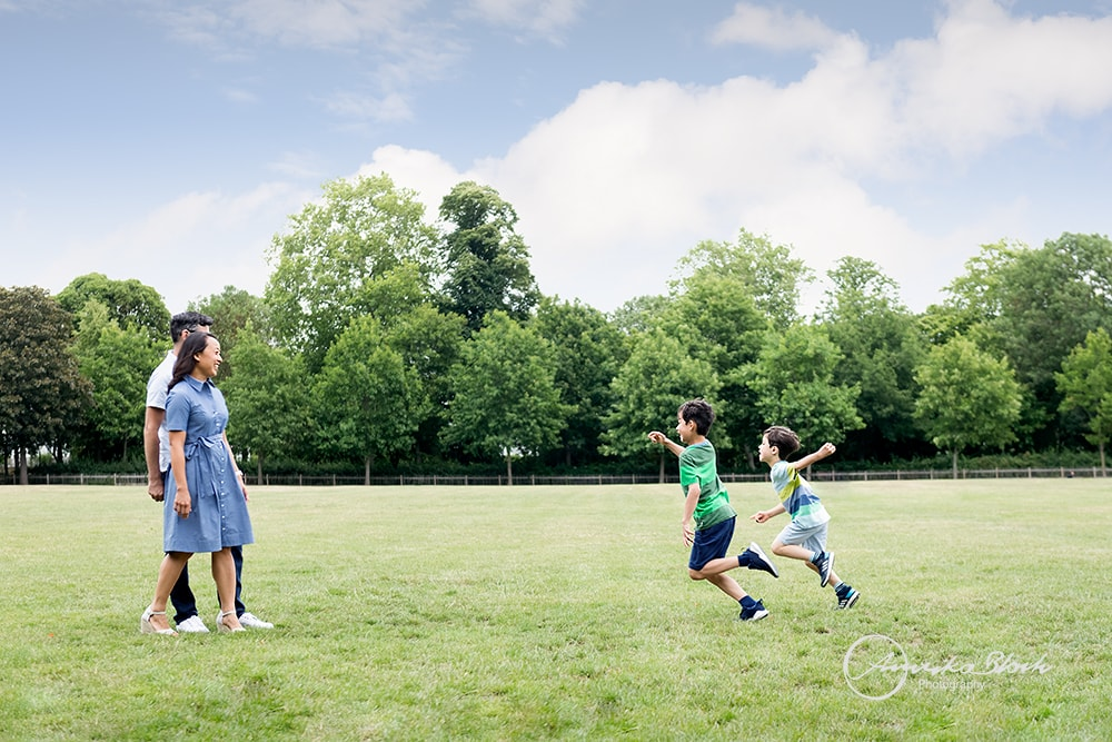 Family photography in Holland Park, London, active boys