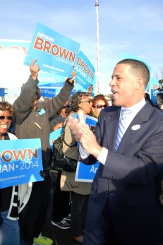 Former Democratic gubernatorial candidate Anthony Brown greets supporters on Election Day, Nov. 4, 2014, outside of St. Joseph Catholic Church in Upper Marlboro.