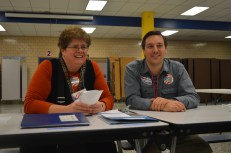 Election officials at Bates Middle School in Annapolis.