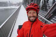 Crossing the Danube under snowy skies