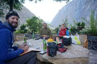 A beer at Sean's Guesthouse overlooking Tiger Leaping Gorge