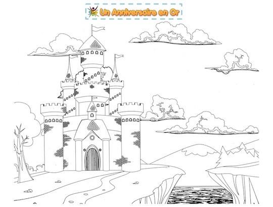 Coloriage Chateau Fort Pour Enfant Un Anniversaire En Or