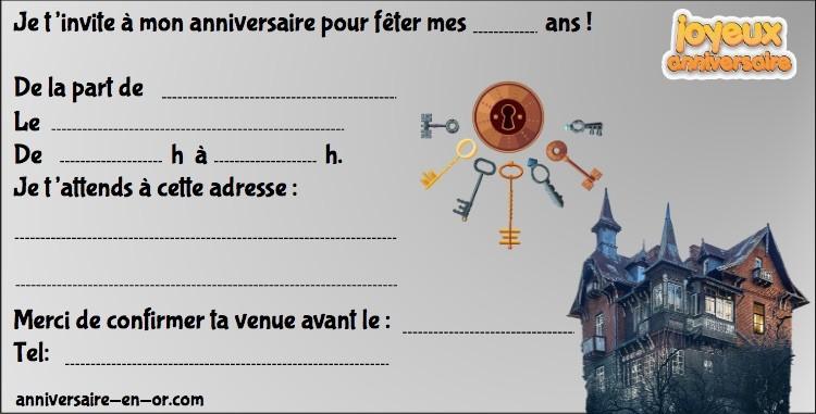 invitations anniversaire escape games