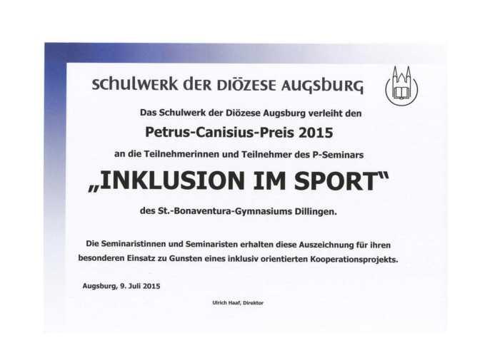 Ann-Kathrin Hitzler wurde 2015 mit dem Petrus Canisius Preis ausgezeichnet. Sie engagiert sich für Inklusion im Sport.